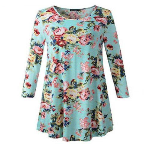 Women'S New Printed T-Shirt with Long Sleeves and Round Neck
