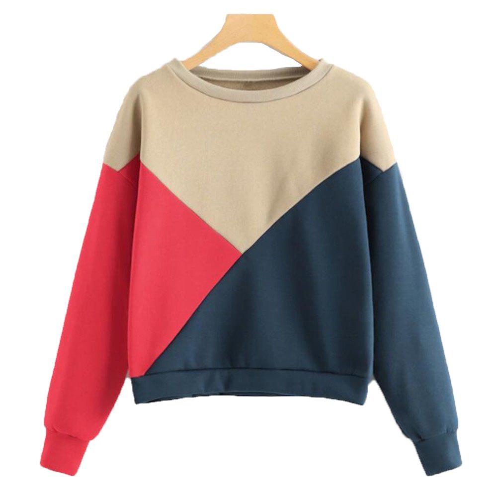 Discount Tricolour Jointed Thick Long Sleeve Hoodie