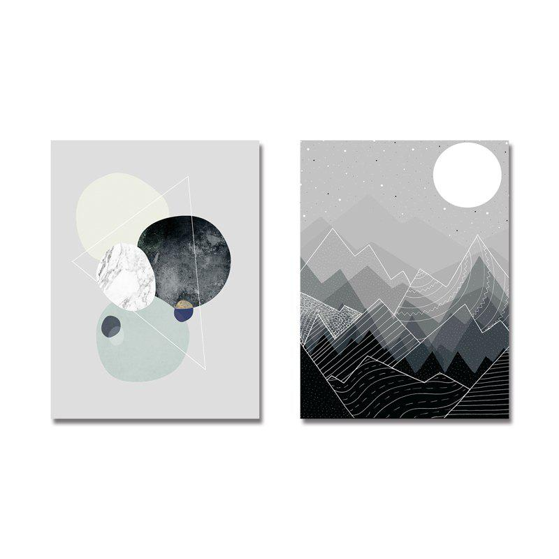 Unique DYC 2PCS Cartoon Abstract Scenery Print Art
