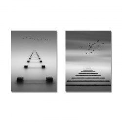 DYC 2PCS Gray Seascape Print Art -