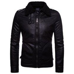 Man Leather Clothing Single Color Thick Fashion Leisure Time Coat -