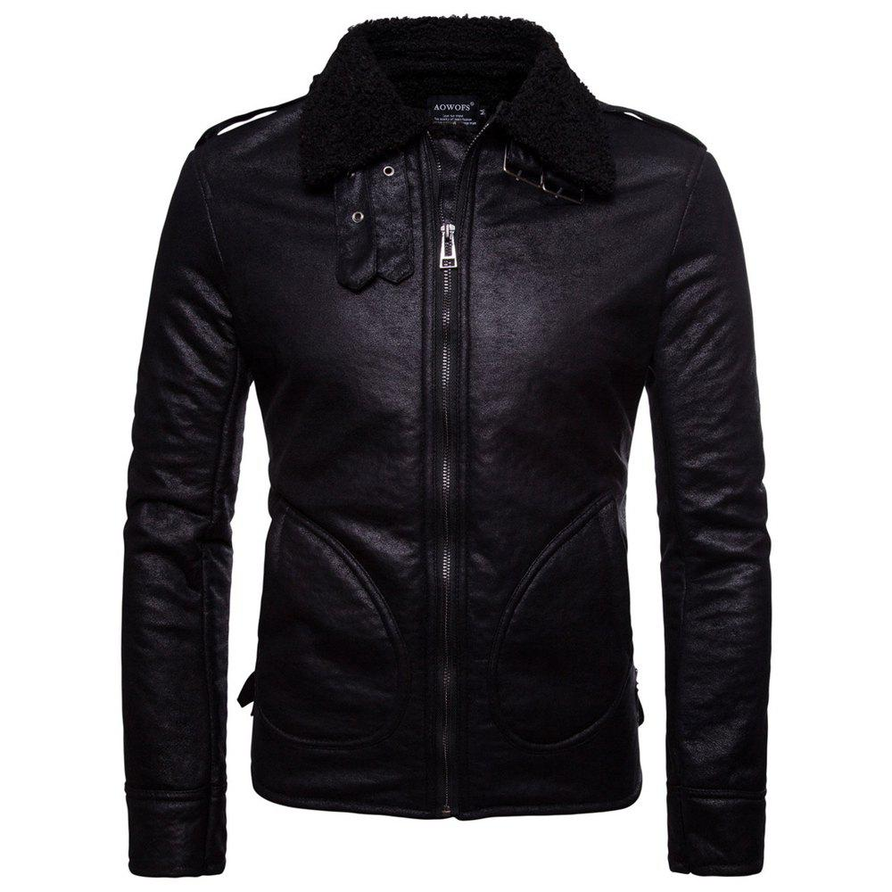 Cheap Man Leather Clothing Single Color Thick Fashion Leisure Time Coat