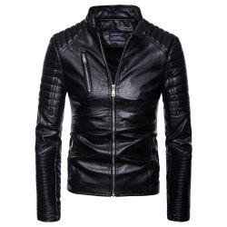 man leather clothing Single color Wrinkle fashion Leisure time Jacket coat -