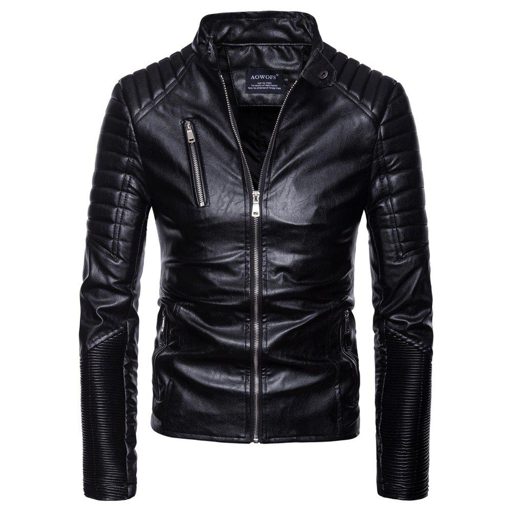 Shop man leather clothing Single color Wrinkle fashion Leisure time Jacket coat