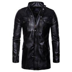 man leather clothing Long style Single color fashion  Windbreaker coat -