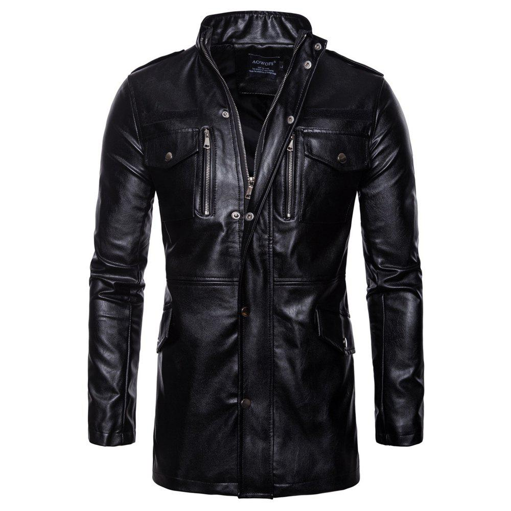 Trendy man leather clothing Long style Single color fashion  Windbreaker coat