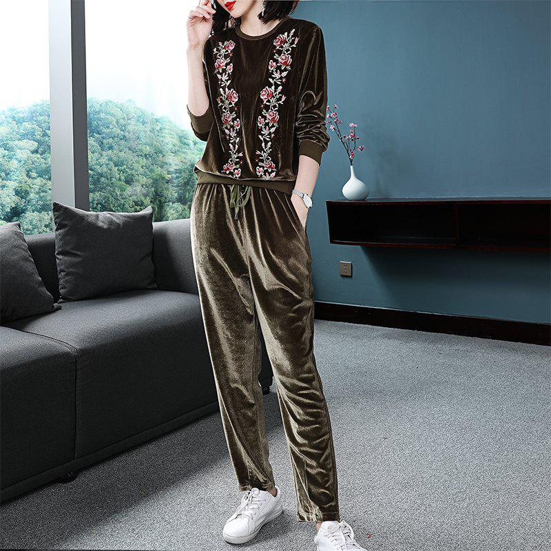 Online Round Collar Comfortable Waist Long Sleeves Embroidery Two Suits