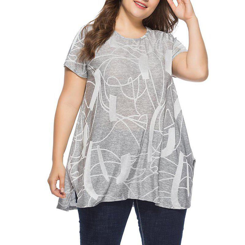 Outfit Round Collar Short Sleeve Burning Flower Loose T Shirt