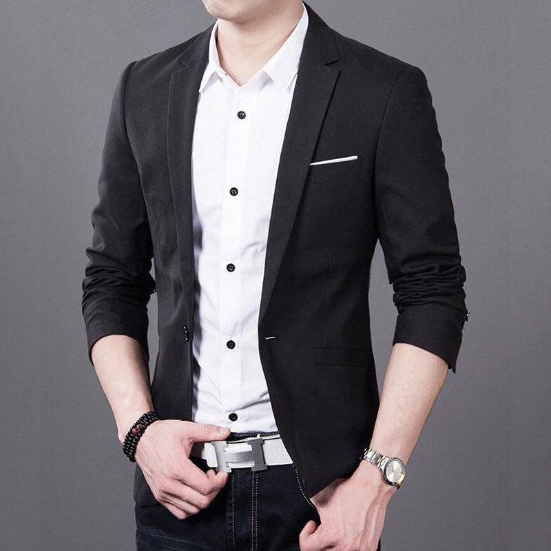Latest Men's Daily Work Fall Plus Size Regular Blazer Solid Colored V Neck Long Sleeve