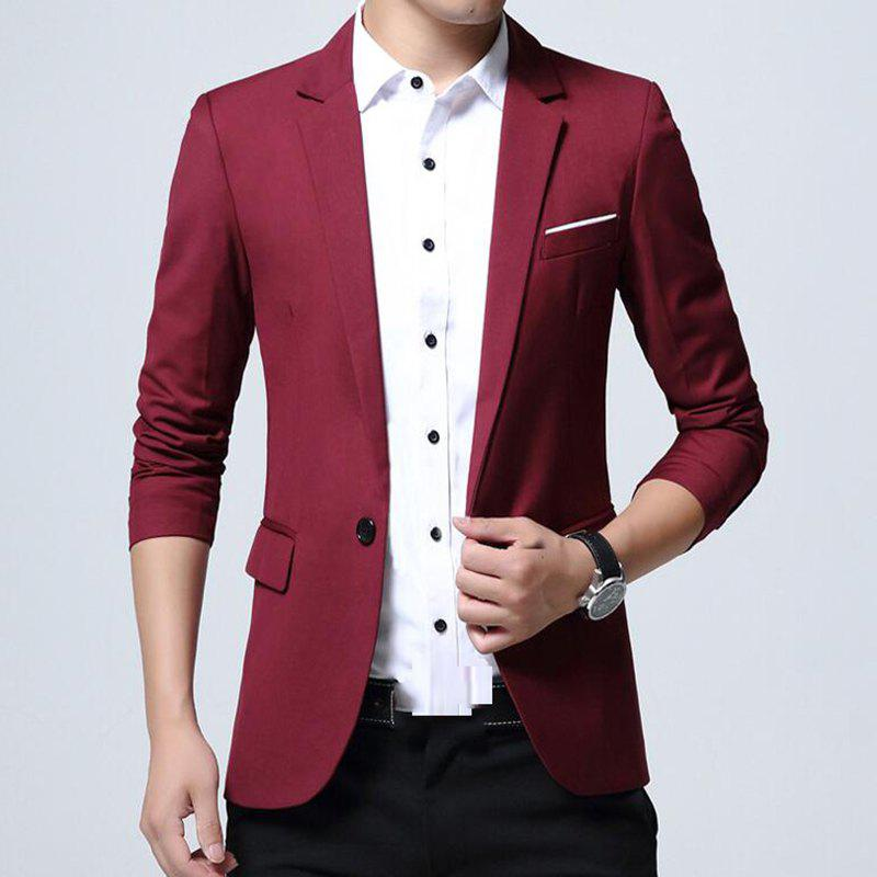 Sale Men's Daily Work Fall Plus Size Regular Blazer Solid Colored V Neck Long Sleeve