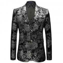 New Man Fashion Full Stamp Sleeve Floral Party Blazer -