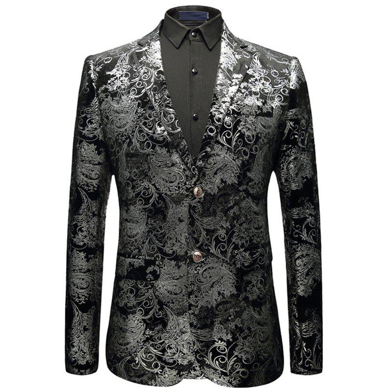 New Man Fashion Full Stamp Sleeve Floral Party Blazer