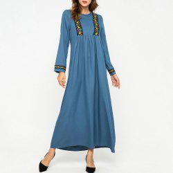 Loose Splicing Floral Long Sleeve Round Neck Dress -