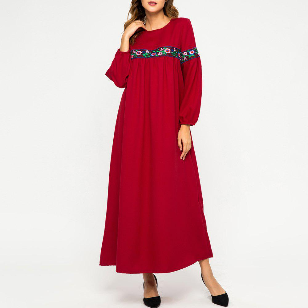 New Embroidere Flower Stitching Long Sleeve Loose Large Dress