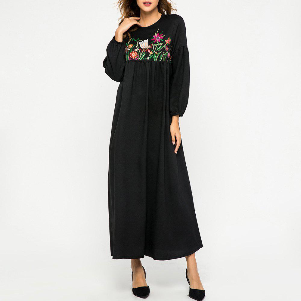 Sale Embroidery Flower Loose Round Neck Dress