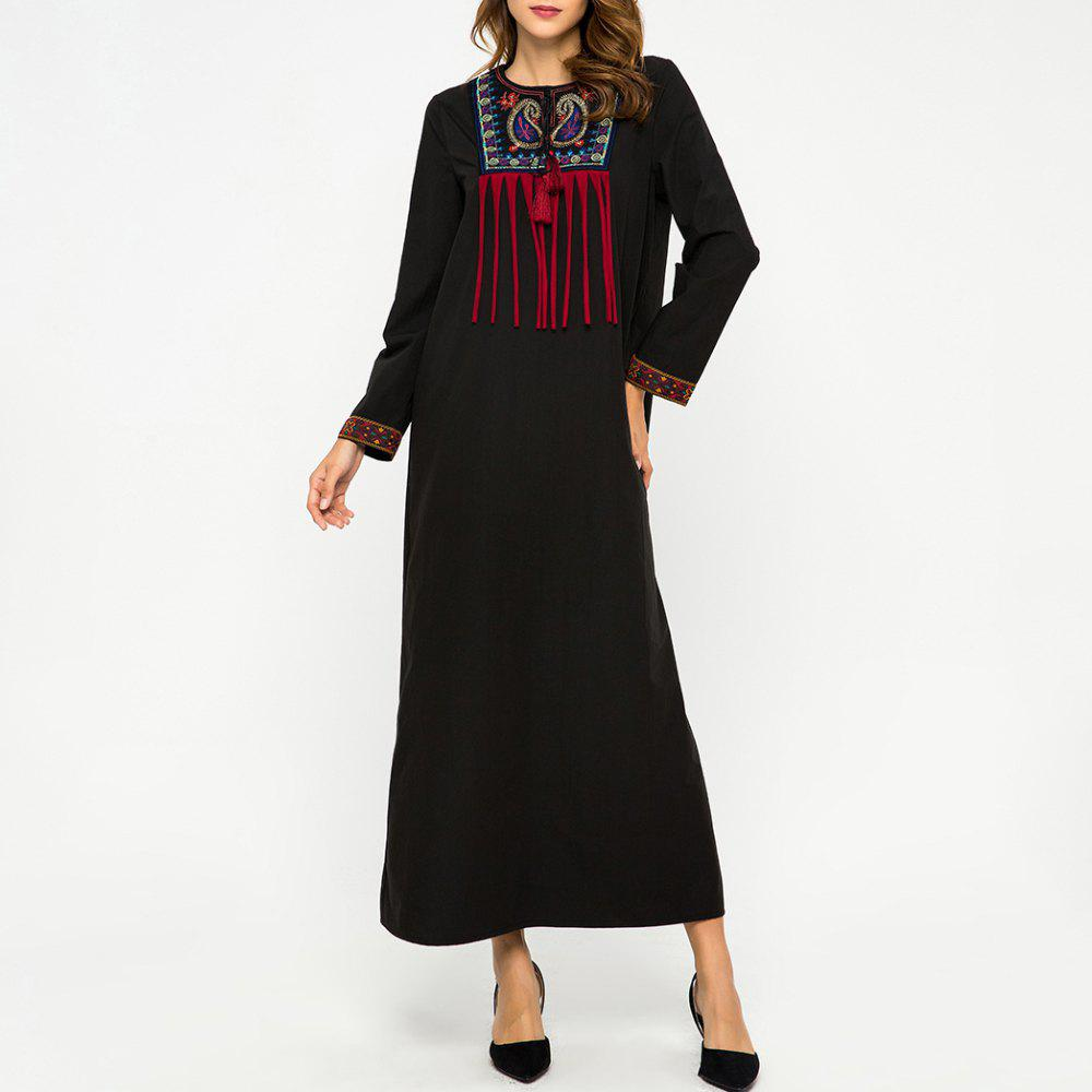 Unique Embroidere Stitching Tassel Loose Long Sleeve Dress