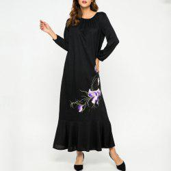 Loose Embroidere Flower Ruffled Long Sleeve Dress -
