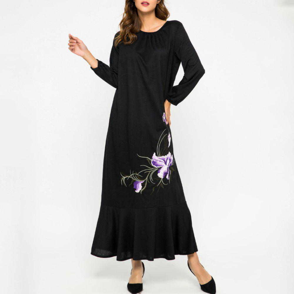 Latest Loose Embroidere Flower Ruffled Long Sleeve Dress