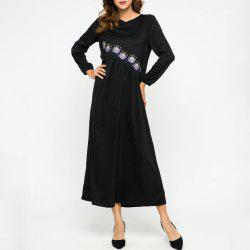 Embroidere Flower Loose Round Neck Dress -