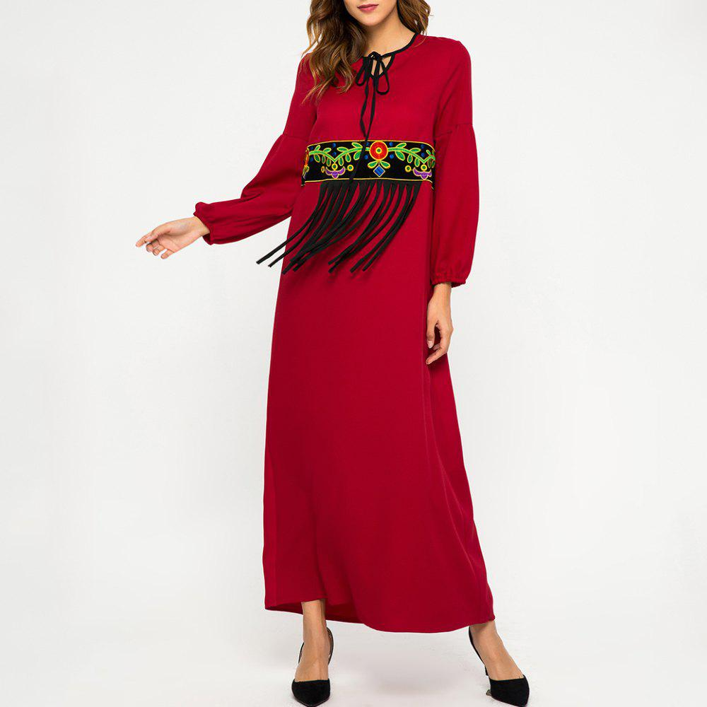 Buy Loose Splicing Tassel Embroidere Long Sleeve Dress