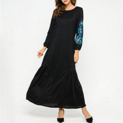 Loose Embroidere Flowers Long Sleeve Dress -