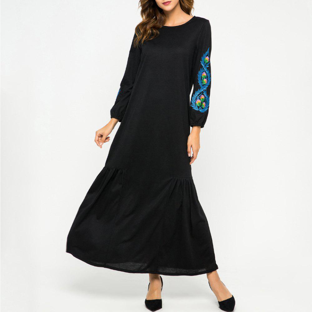 Hot Loose Embroidere Flowers Long Sleeve Dress