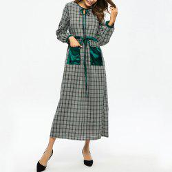 Plaid Stitching Pocket Tie Waist Slimming Dress -