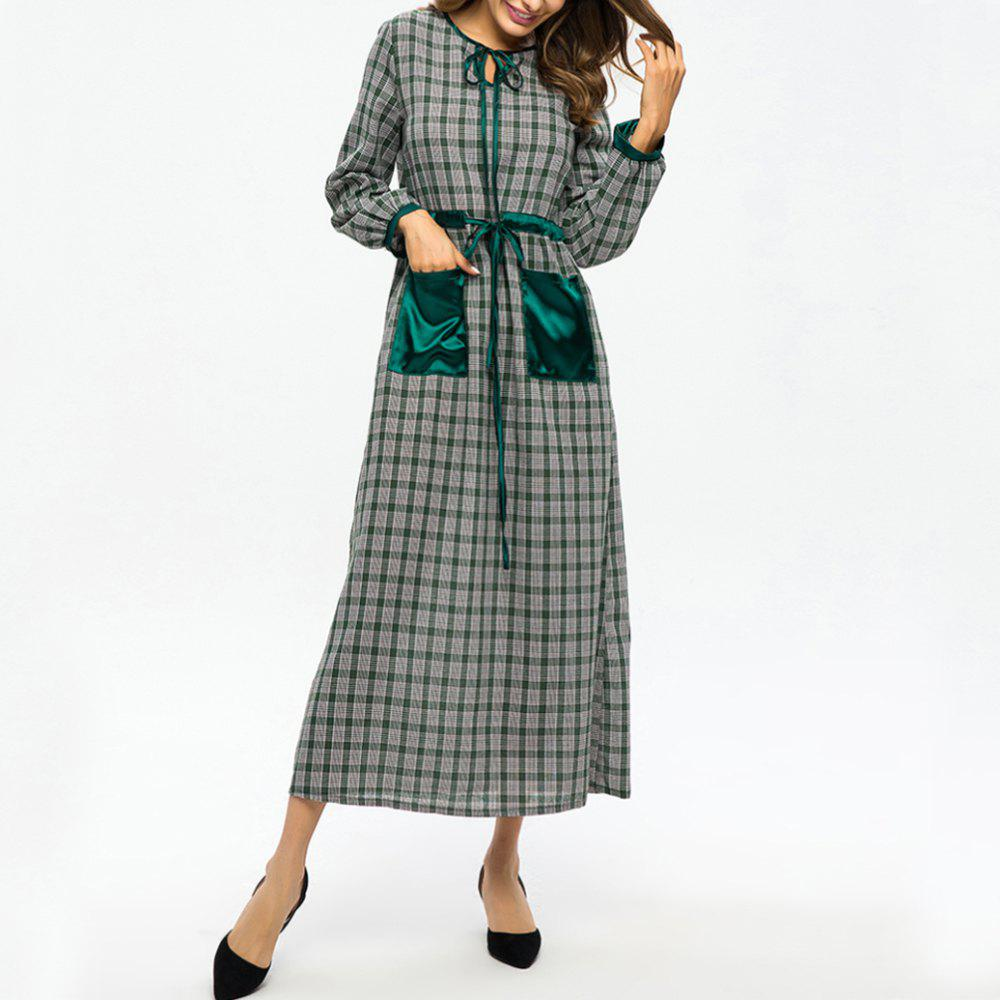 Store Plaid Stitching Pocket Tie Waist Slimming Dress