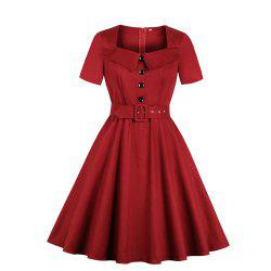 Lapel Buttons Pocket and Belt Pure Color Dress -