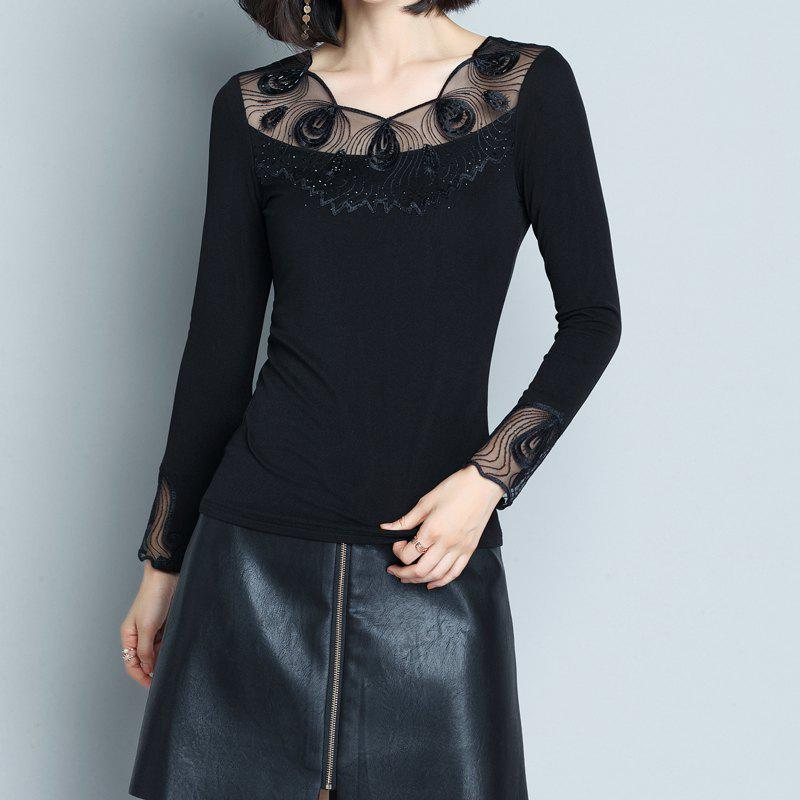 Chic Ladies' Low Collar and Long Sleeve Lace Shirts