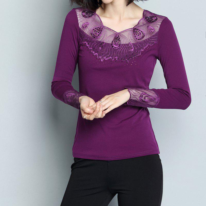 Store Ladies' Low Collar and Long Sleeve Lace Shirts