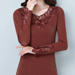 Ladies' Autumn Self-Cultivation Embroidery Long-Sleeved Undercoat -