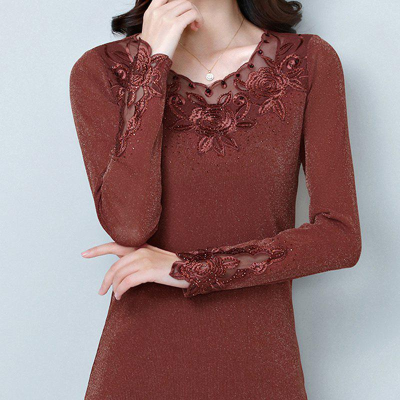 Shop Ladies' Autumn Self-Cultivation Embroidery Long-Sleeved Undercoat