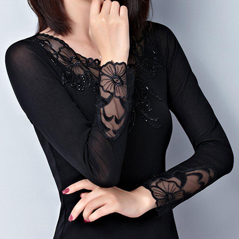 Best New Autumn Lady's Long-Sleeved Lace Bottom Blouse