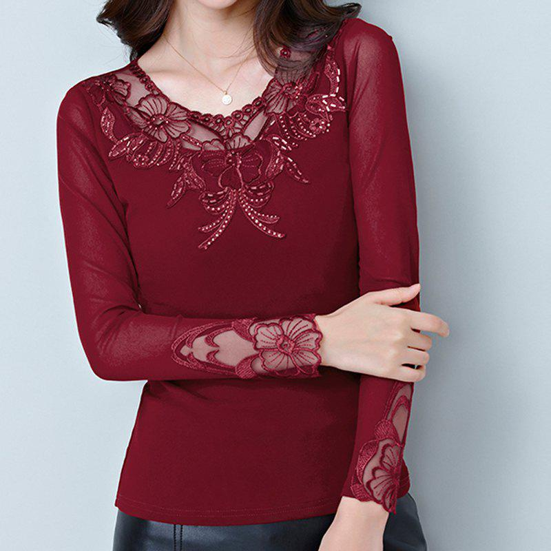 Outfits New Autumn Lady's Long-Sleeved Lace Bottom Blouse