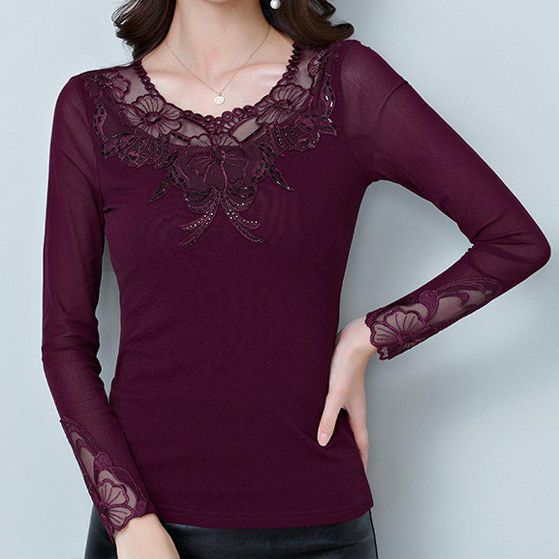 Unique New Autumn Lady's Long-Sleeved Lace Bottom Blouse