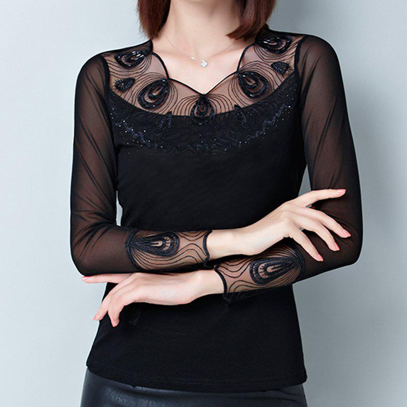 Outfits New Lady's Lace Long Sleeve Bottom Shirt