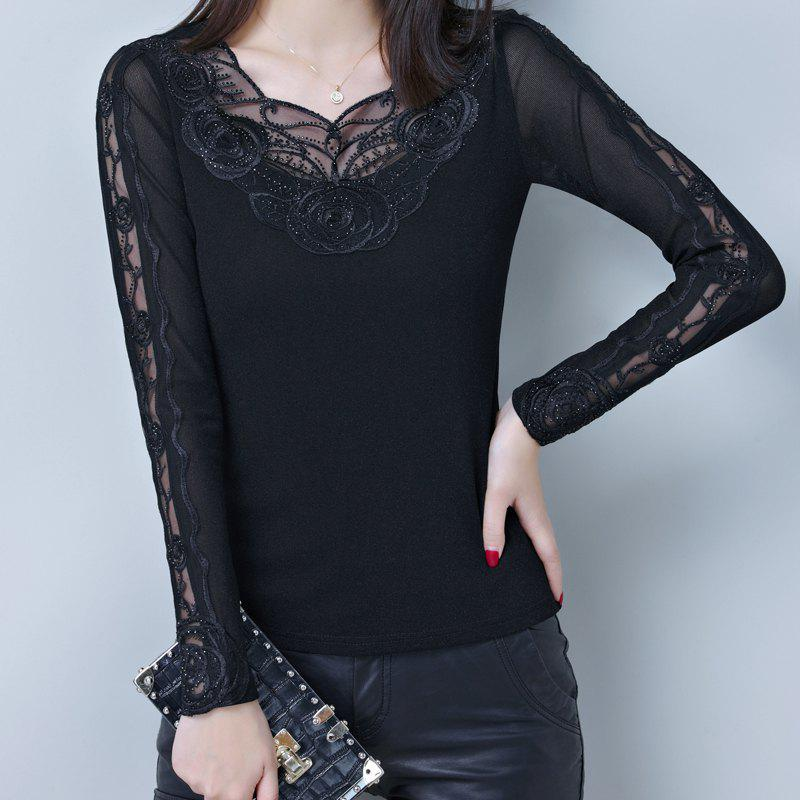 Fashion Spring and Autumn Women's Sexy Lace Bottom Shirt