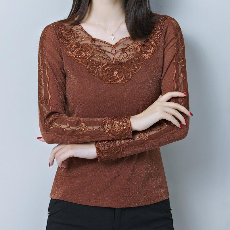 Affordable Spring and Autumn Women's Sexy Lace Bottom Shirt