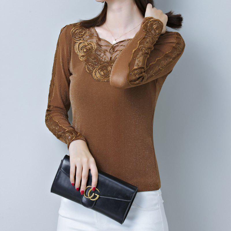 Best Spring and Autumn Women's Sexy Lace Bottom Shirt