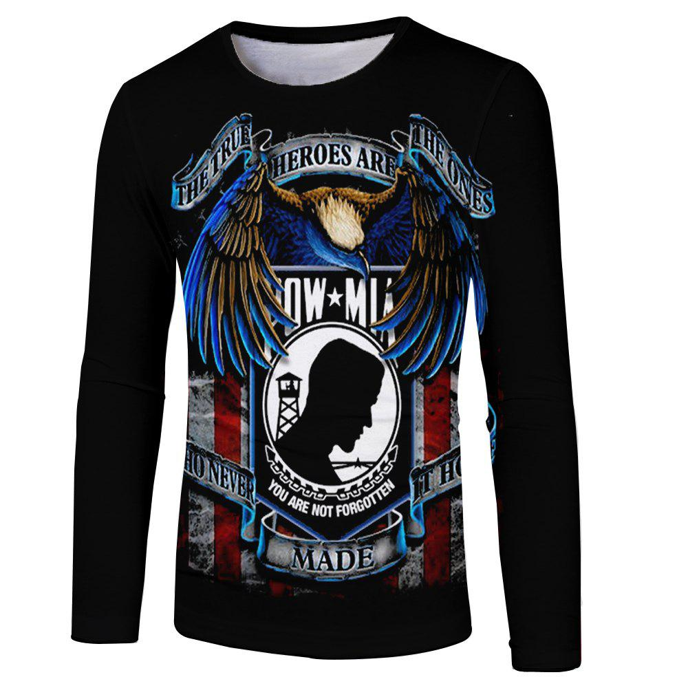 Unique New Men and Women Casual Fashion Eagle 3D Printed Long T-Shirt