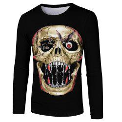 New Men and Women Casual Fashion Strange Skull 3D Printed Long T-Shirt -