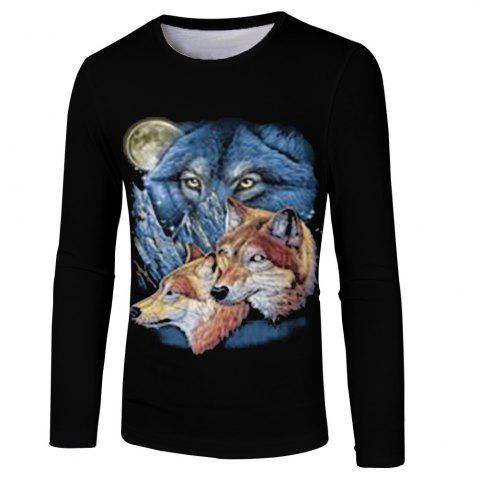e76d056f86 New Men and Women Casual Fashion Three Wolf 3D Printed Long T-Shirt
