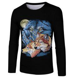 New Men and Women Casual Fashion Three Wolf 3D Printed Long T-Shirt -