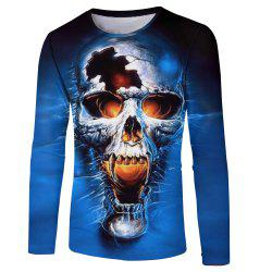 New Men and Women Casual Fashion Skull 3D Printed Long T-Shirt -