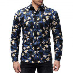 Flower Color Printed Men's Long Sleeve For Leisure And Self-Cultivation Shirts -