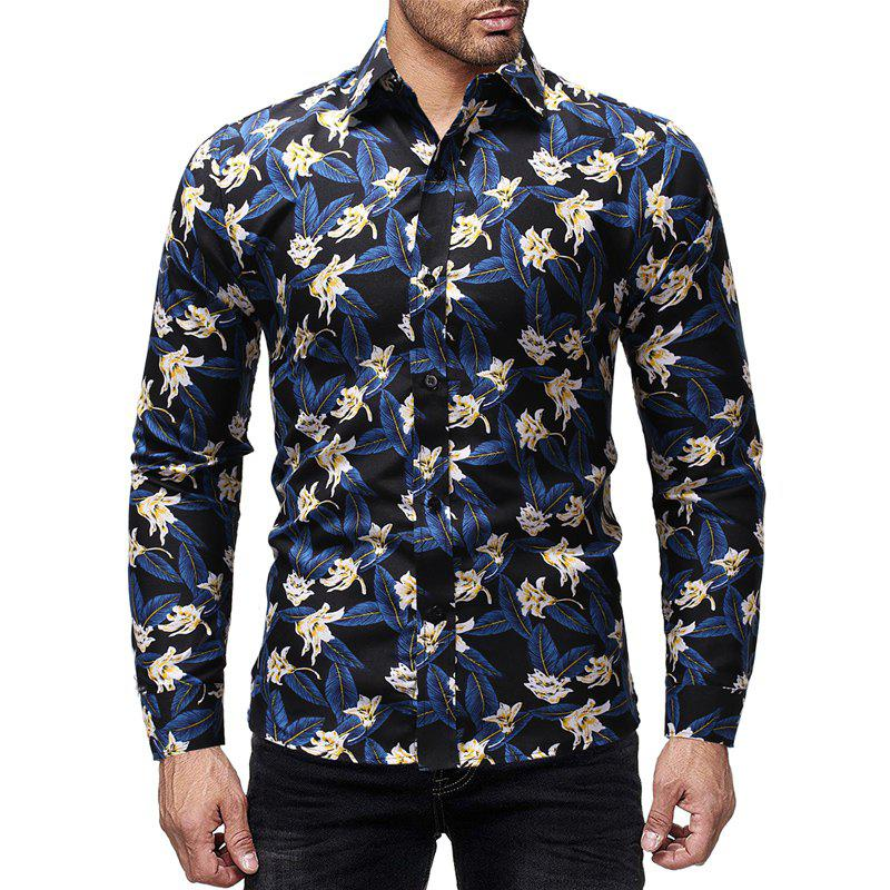 Affordable Flower Color Printed Men's Long Sleeve For Leisure And Self-Cultivation Shirts