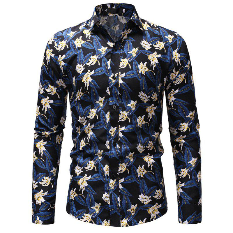 Flower Color Men's Long Sleeve For Leisure And Self-Cultivation Shirts