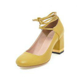 Round Headed Laced Women Shoes with Thick High Heels -