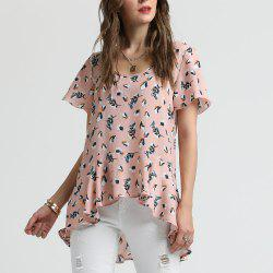 SBETRO Bell Sleeve Floral Print Pleated Shirt -